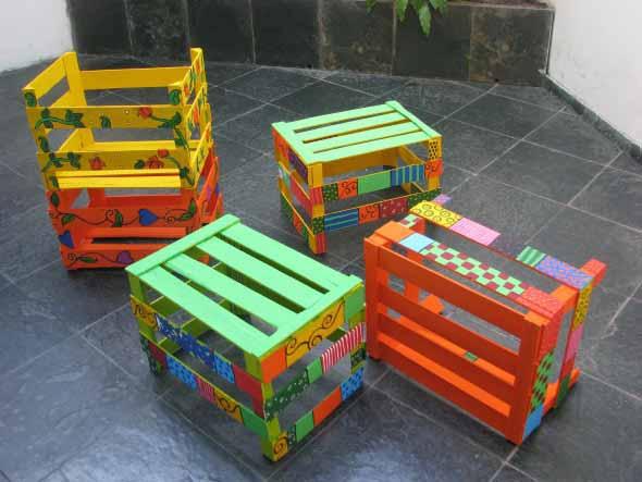 Como pintar caixote de feira