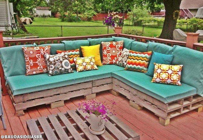 sofá pallets - 18 Ideias de sofás de paletes incríveis para voce se inspirar
