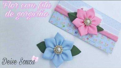 Flor Fofurinha com Fita de Gorgurão
