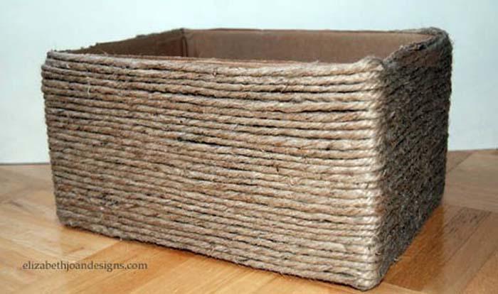 caixa4 - Transforme caixas de papelão cestas decorativa 1