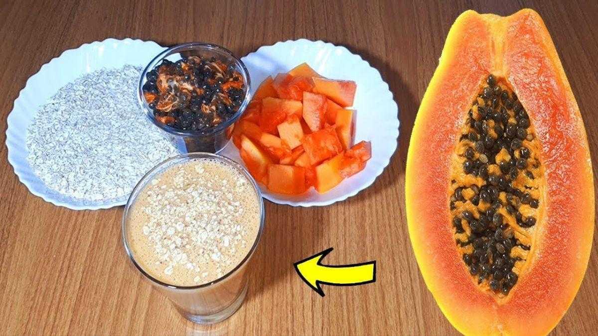 Bebida de mamão e aveia para baixar o peso, limpar as artérias e desintoxicar o intestino