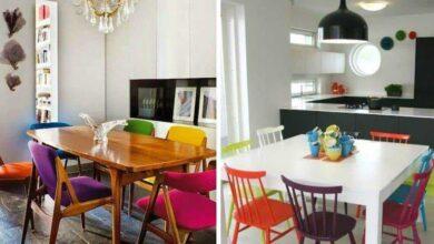 Foto de Cadeiras coloridas na decoração