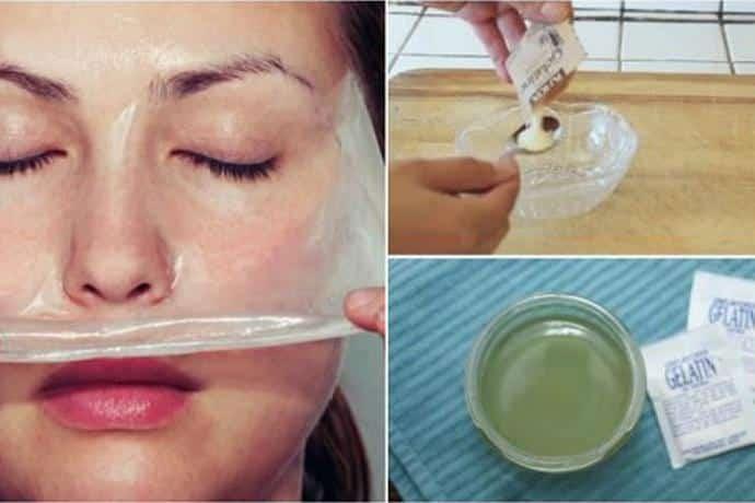 Máscara de gelatina para retirar cravos do rosto
