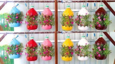 Jardim Suspenso Colorido de Garrafas de Plástico Recicladas