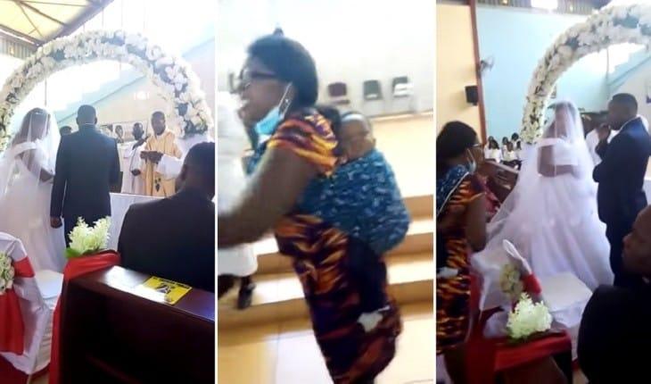 Vídeo mostra mulher invadindo casamento na hora do 'sim' para desmascarar o noivo: 'É meu marido!'