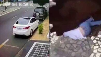 Imagens mostram o momento exato em que buraco se abre em calçada e 'engole' jovem de 19 anos